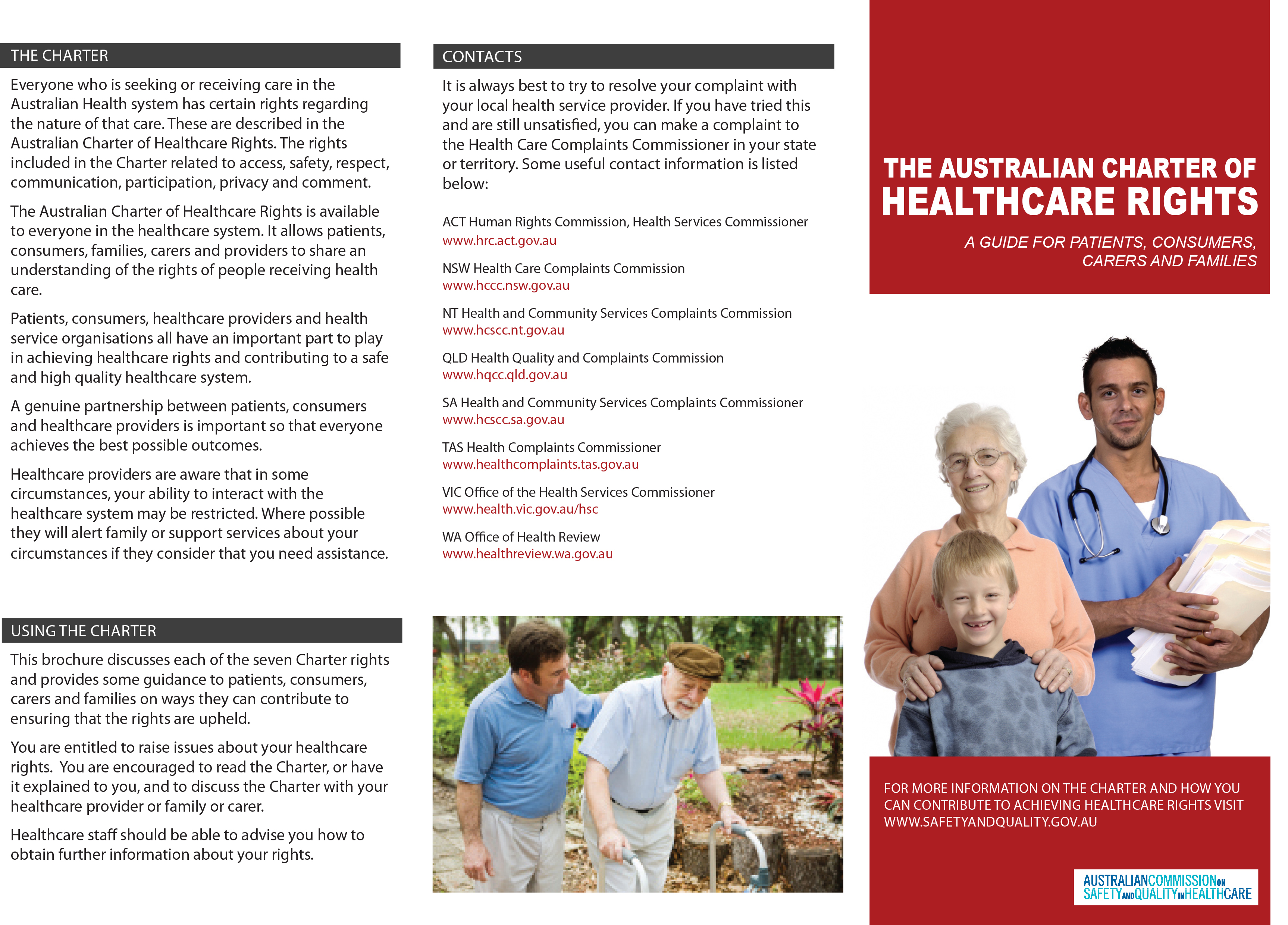 Australian Charter of Healthcare Rights: Guide for patients, consumers, carers and families - ACSQHC (2007)