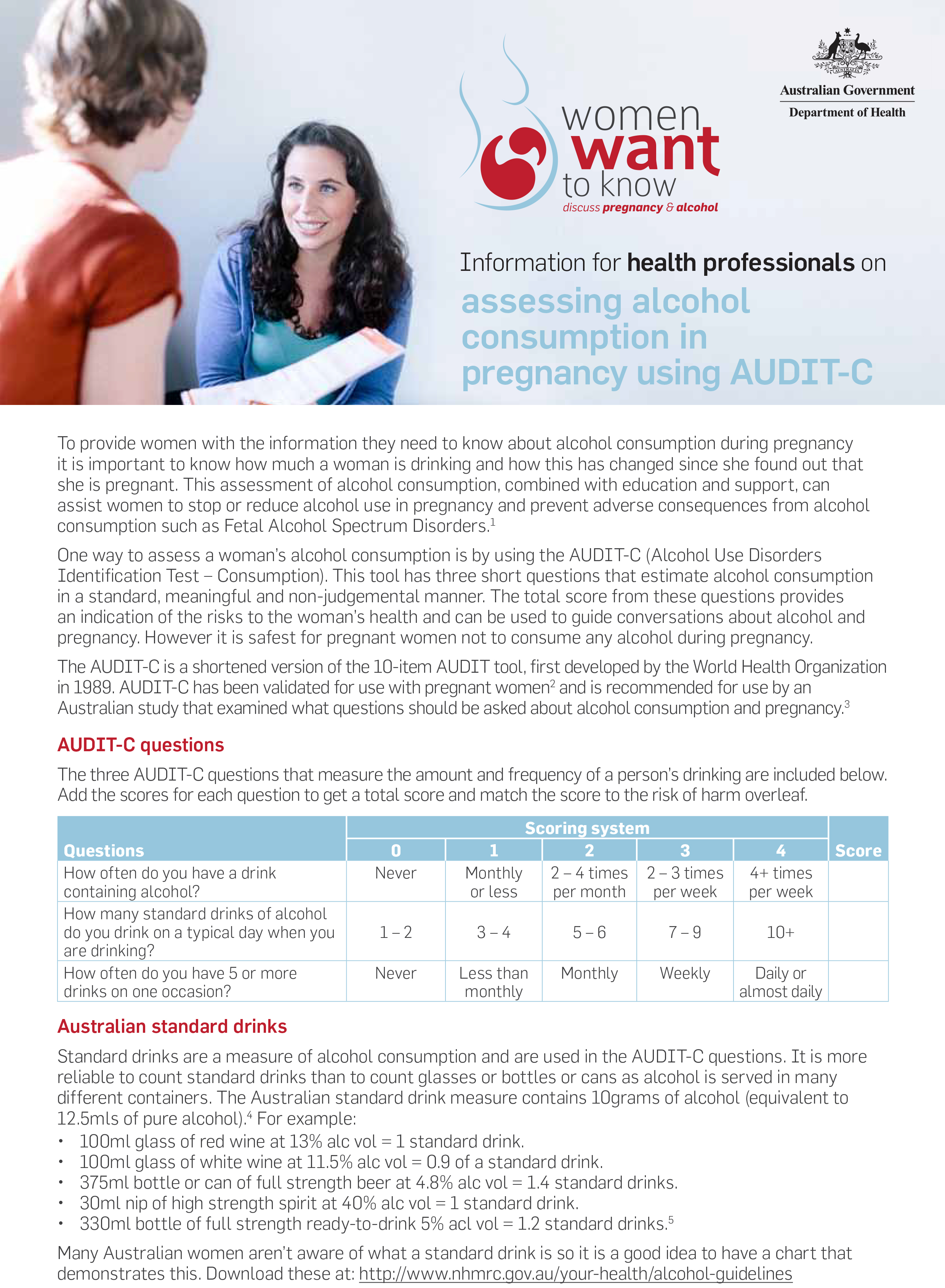 Pregnancy and Alcohol - Assessing Alcohol Consumption in Pregnancy Using AUDIT-C - DOHA (2014)