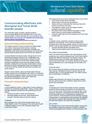 Communicating Effectively with Aboriginal and Torres Strait Islander People - Qld Health (2015)