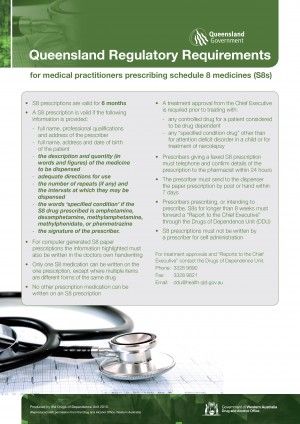 Schedule 8 Prescriptions: Queensland Regulatory Requirements factsheet - Qld Health (2014)