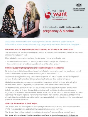 Pregnancy and Alcohol: Info for health professionals - DOHA (2012)
