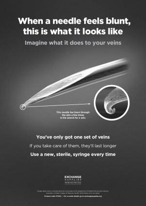 Poster: When a needle feels blunt (Exchange Supplies, 2019)