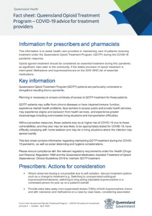 Queensland Health Fact sheet: Queensland Opioid Treatment Program – COVID-19 advice for treatment providers