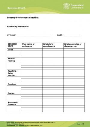 Qld Health Sensory Preferences Checklist