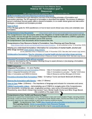 Formulation Webinar Part I – Resource Handout
