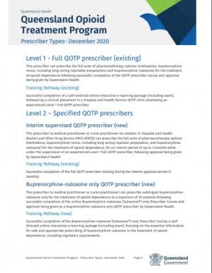 Queensland Health Fact sheet: Queensland Opioid Treatment Program Prescriber Types