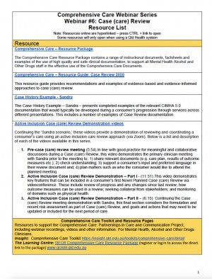 Case (care) Review Webinar – Resource Handout